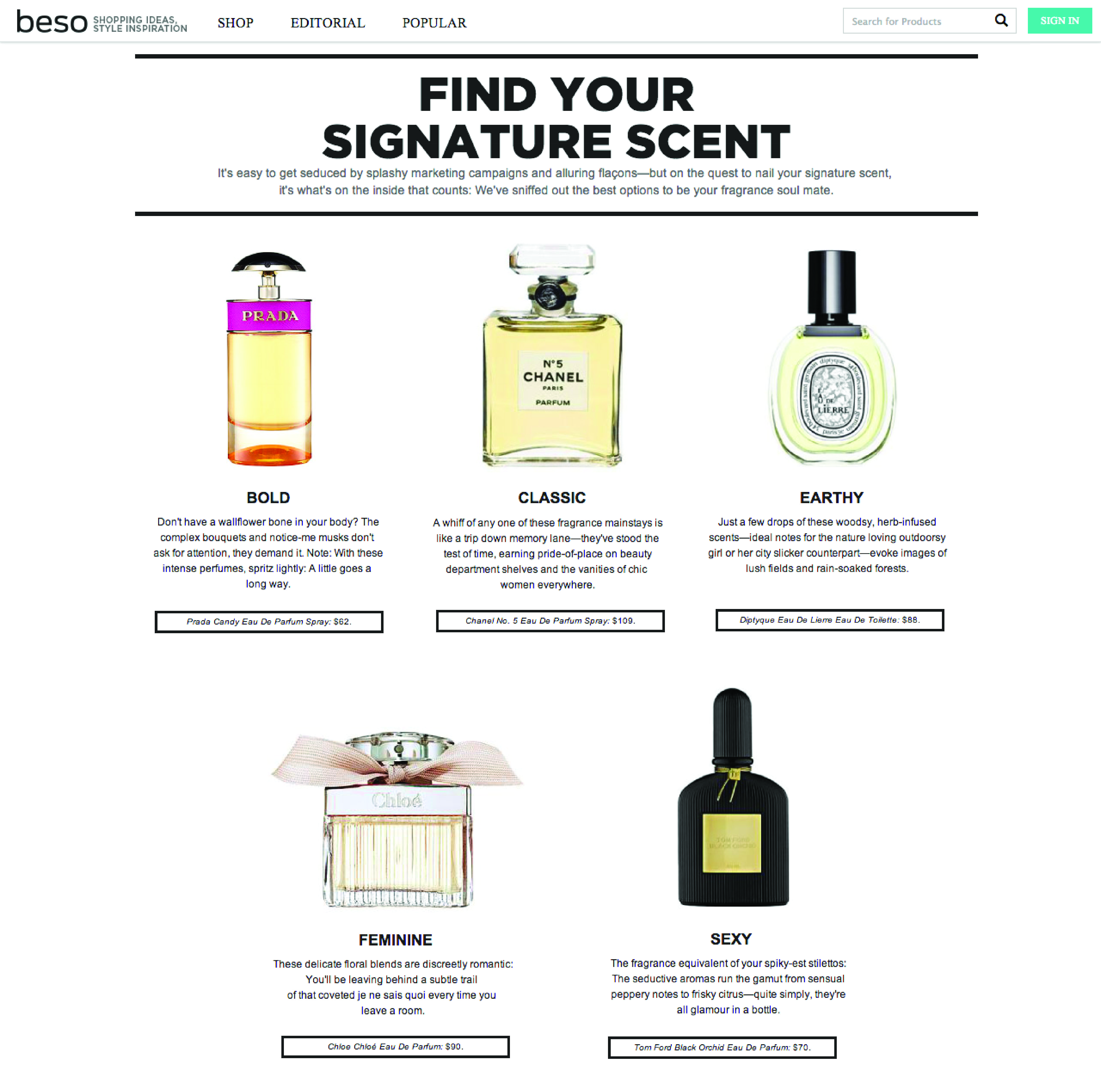 Find Your Signature Scent by Kate Wolfson for Beso