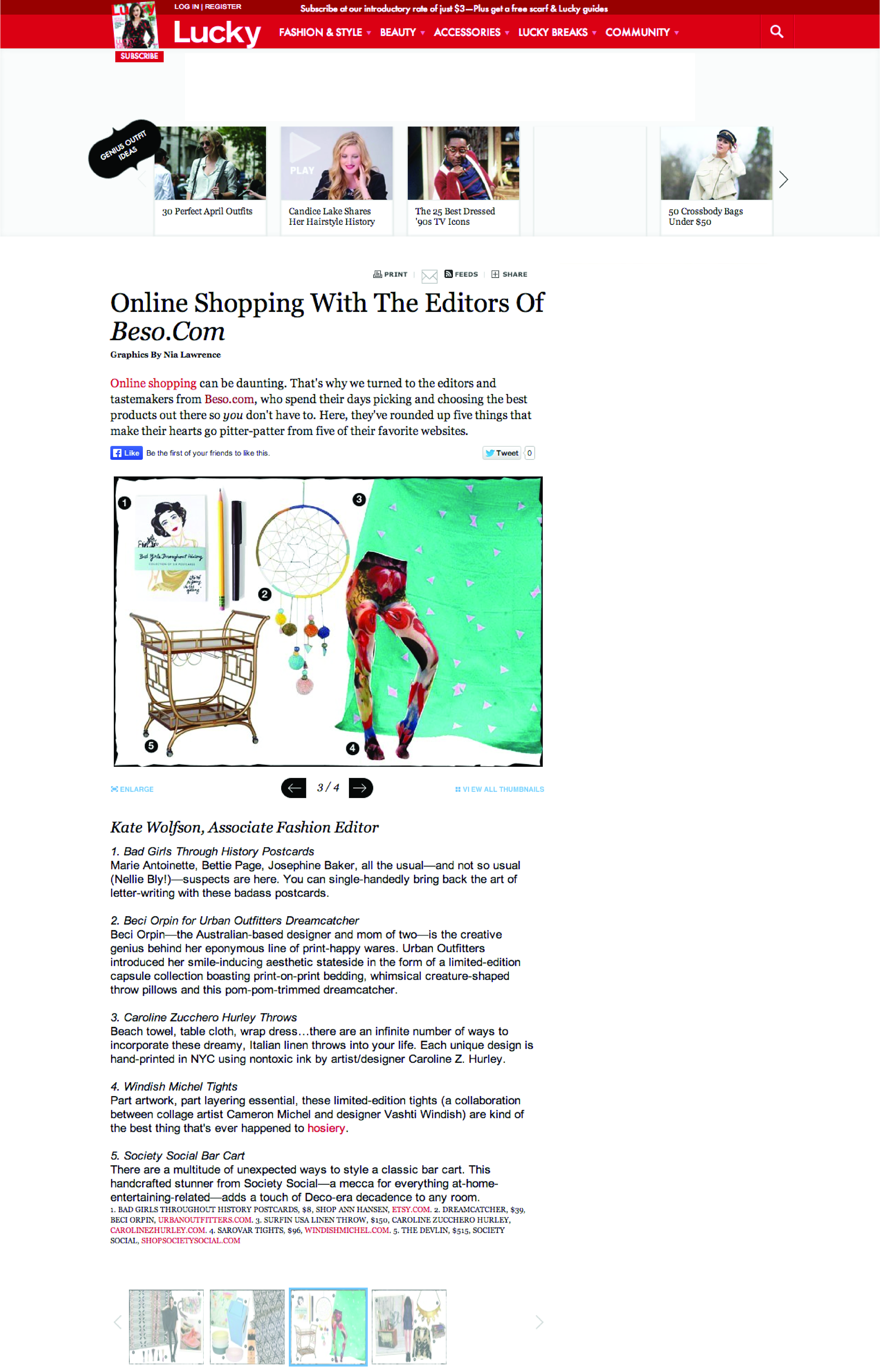 Online Shopping With The Editors of Beso.Com by Kate Wolfson for Lucky Mag